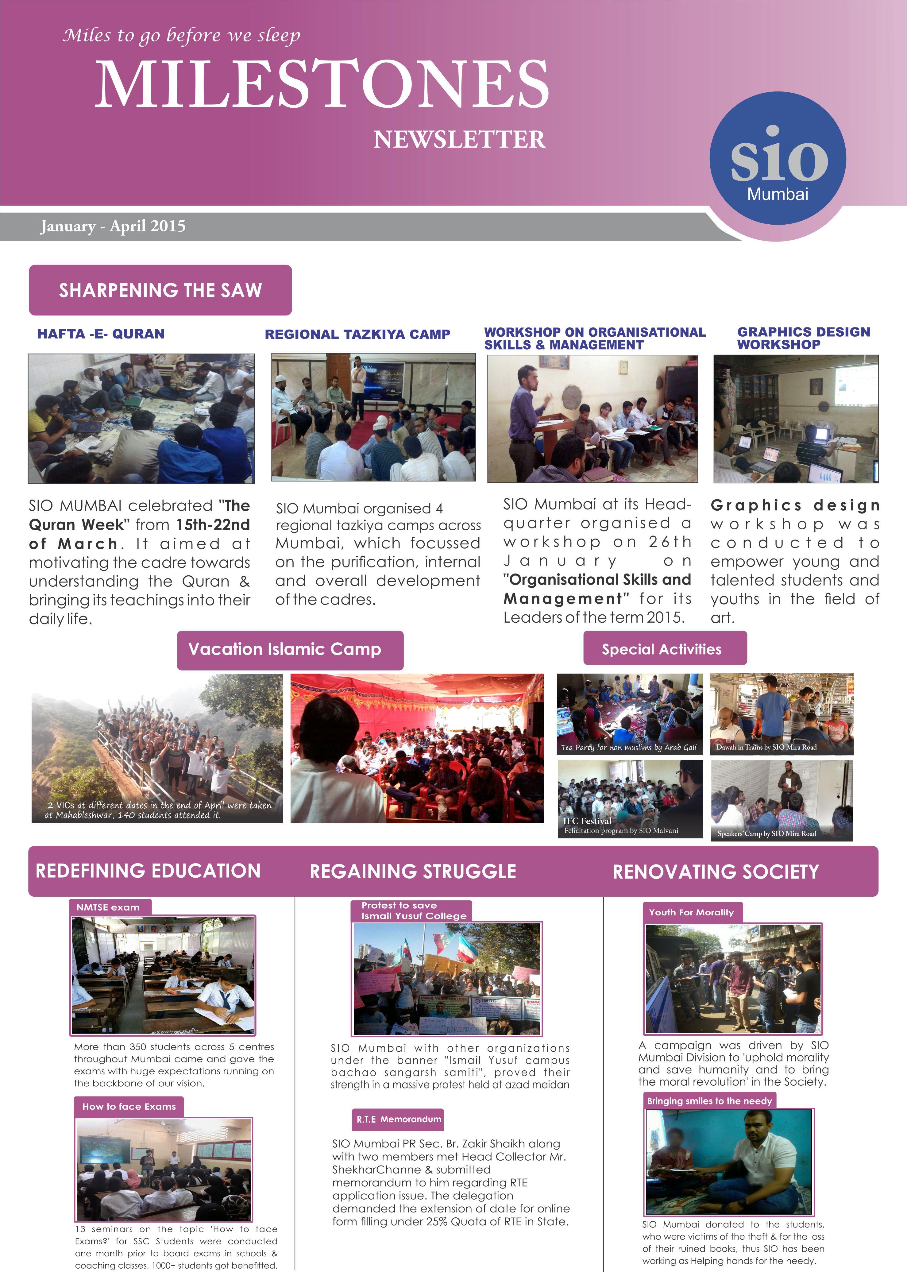 """Milestones"" SIO Mumbai Report of activities from Jan-Apr 2015"