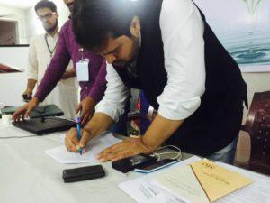 Br. Layeeq Ahmed Khan initiating Signature campaign at karimnagar