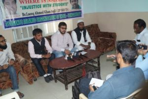 Br. Layeeq Ahmed Khan Zonal President addressing press meet at sangareddy