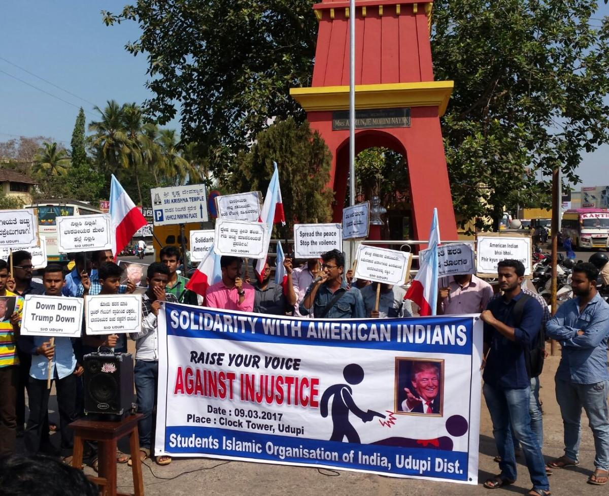 Protest agaisnt the killing of Indian at the USA by SIO Udupi