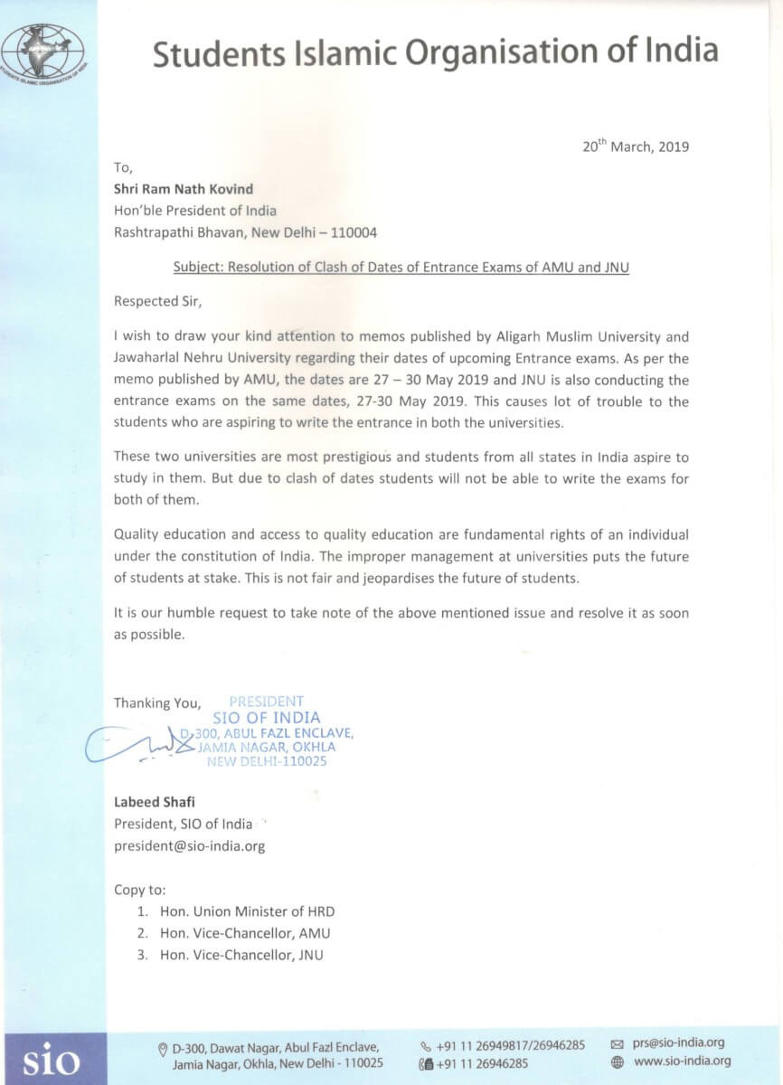 SIO President Writes to President of India, Minister of HRD regarding Entrance Exam Date Clash