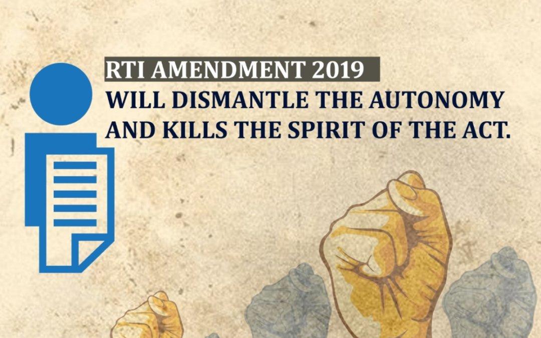 RTI amendment 2019 will dismantle the autonomy and kills the spirit of the Act: SIO