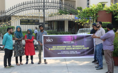 SIO Staged protest at  UGC Bhawan demanding to resolve the e-certificates issue without delay